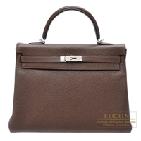 Hermes Kelly bag 35 Retourne Cacao Clemence leather Silver hardware