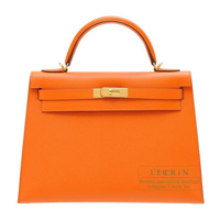 Hermes Kelly bag 32 Sellier Orange Epsom leather Gold hardware