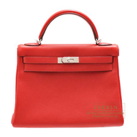 Hermes Kelly bag 32 Retourne Vermillon Togo leather Silver hardware