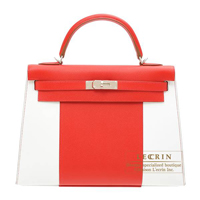 Hermes Kelly Flag bag 32 Sellier Rouge casaque/White Epsom leather Silver hardware