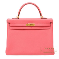Hermes Kelly bag 35 Retourne Rose lipstick Togo leather Gold hardware