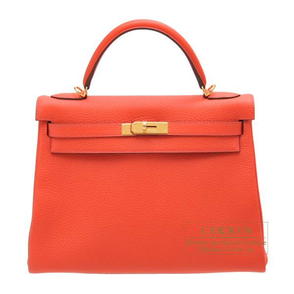 Hermes Kelly bag 32 Retourne Rouge pivoine Clemence leather Gold hardware