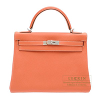 Hermes Kelly bag 32 Retourne Crevette Clemence leather Silver hardware