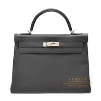 Hermes Kelly bag 32 Retourne Plomb Clemence leather Silver hardware