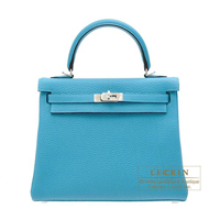 Hermes Kelly bag 25 Retourne Turquoise blue Togo leather Silver hardware