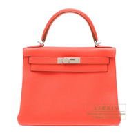 Hermes Kelly bag 28 Retourne Rose jaipur Clemence leather Silver hardware