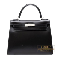 Hermes Kelly bag 28 Sellier Black Box calf leather Guilloche hardware