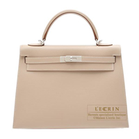 Hermes Kelly bag 32 Sellier Argile Grain d'H calfskin Silver hardware