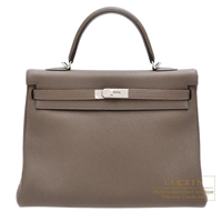 Hermes Kelly bag 35 Retourne Taupe grey Togo leather Silver hardware