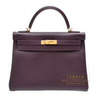 Hermes Kelly bag 32 Retourne Raisin Epsom leather Gold hardware