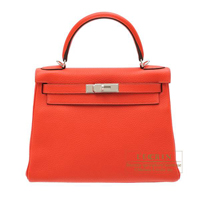 Hermes Kelly bag 28 Retourne Rouge pivoine Clemence leather Silver hardware