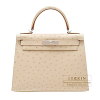 Hermes Kelly bag 28 Sellier Parchemin Ostrich leather Silver hardware