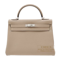 Hermes Kelly bag 32 Retourne Gris tourterelle Togo leather Silver hardware