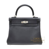 Hermes Kelly bag 25 Retourne Black Swift leather Silver hardware