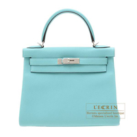 Hermes Kelly bag 28 Retourne Blue atoll Togo leather Silver hardware