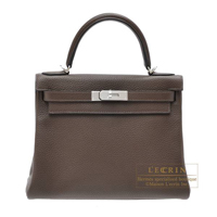 Hermes Kelly bag 28 Retourne Cafe Clemence leather Silver hardware