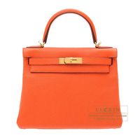 Hermes Kelly bag 28 Retourne Orange poppy Togo leather Gold hardware