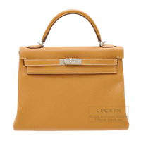 Hermes Kelly bag 32 Retourne Natural sable Clemence leather Silver hardware