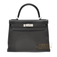Hermes Kelly bag 28 Retourne Plomb Clemence leather Silver hardware