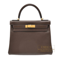 Hermes Kelly bag 28 Retourne Cafe Clemence leather Gold hardware
