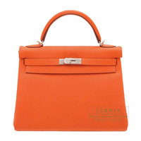 Hermes Kelly bag 32 Retourne Feu Togo leather Silver hardware