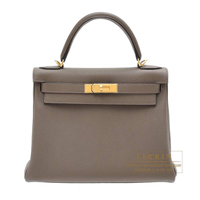 Hermes Kelly bag 28 Retourne Taupe grey Togo leather Gold hardware