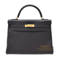 Hermes Kelly bag 32 Retourne Prunoir Clemence leather Gold hardware