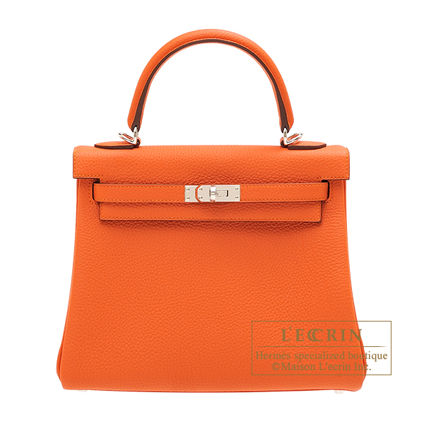 Hermes Kelly bag 25 Retourne Feu Togo leather Silver hardware
