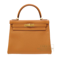 Hermes Kelly bag 28 Retourne Caramel Togo leather Gold hardware