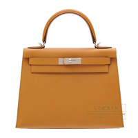 Hermes Kelly bag 28 Sellier Caramel Epsom leather Silver hardware