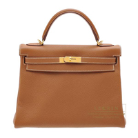 Hermes Kelly bag 32 Retourne Gold Clemence leather Gold hardware