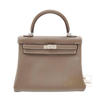 Hermes Kelly bag 25 Retourne Etoupe grey Swift leather Silver hardware