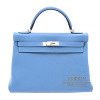 Hermes Kelly bag 32 Retourne Blue paradise Clemence leather Silver hardware