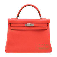 Hermes Kelly bag 32 Retourne Rouge pivoine Togo leather Silver hardware