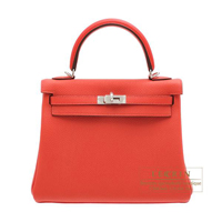 Hermes Kelly bag 25 Retourne Rouge pivoine Togo leather Silver hardware