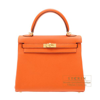 Hermes Kelly bag 25 Retourne Orange Togo leather Gold hardware