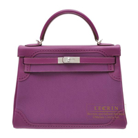 Hermes Kelly Ghillies bag 32 Retourne Anemone Swift leather/Togo leather Silver hardware