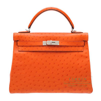 Hermes Kelly bag 32 Retourne Tangerine orange Ostrich leather Silver hardware