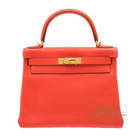 Hermes Kelly bag 28 Retourne Rose jaipur Clemence leather Gold hardware