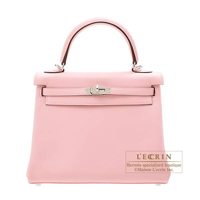 Hermes Kelly bag 25 Retourne Rose sakura Swift leather Silver hardware