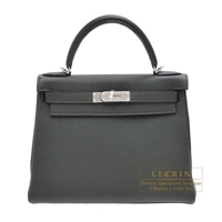 Hermes Kelly bag 28 Retourne Vert fonce Togo leather Silver hardware