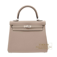 Hermes Kelly bag 25 Retourne Gris tourterelle Togo leather Silver hardware