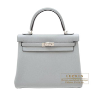 Hermes Kelly bag 25 Retourne Blue glacier Togo leather Silver hardware
