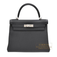 Hermes Kelly bag 28 Retourne Plomb Togo leather Silver hardware