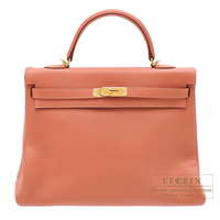 Hermes Kelly bag 35 Retourne Rose tea Clemence leather Gold hardware
