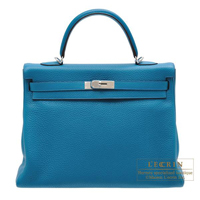 Hermes Kelly bag 35 Retourne Blue izmir Clemence leather Silver hardware