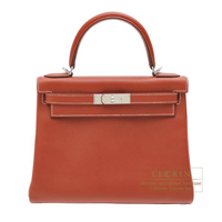 Hermes Kelly bag 28 Retourne Brique Epsom leather Silver hardware