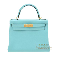 Hermes Kelly bag 28 Retourne Blue atoll Togo leather Gold hardware