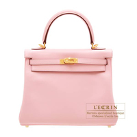 Hermes Kelly bag 25 Retourne Rose sakura Swift leather Gold hardware