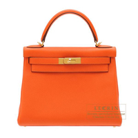 Hermes Kelly bag 28 Retourne Feu Togo leather Gold hardware